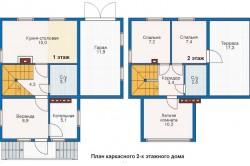 Схема плана каркасного дома.