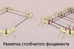 Схема разметки столбчатого фундамента.