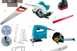 Необходимые инструменты и крепёжные элементы. а — крепежные уголки, б — саморез по дереву, в — аккумуляторный шуруповёрт, г — ручная дисковая пила, д — пила ручная по дереву, е — электролобзик, ж — карандаш столярный, з — лестница-трансформер, и — измерительная рулетка., й — уровень строительный, к — уровень строительный.